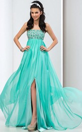 Strapless Beaded Sequins Front-Split Prom Dress
