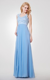 A-line Long Chiffon and Lace Dress With Straps