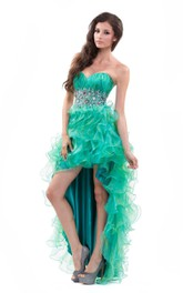Sweetheart High-low Ruffled Dress With Rhinestones