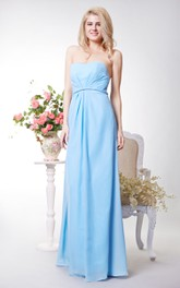 Sweetheart Chiffon A-line Long Dress With Keyhole Back