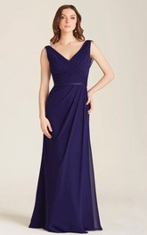 Floor-Length V-Neck Sleeveless Criss-Cross Chiffon Bridesmaid Dress