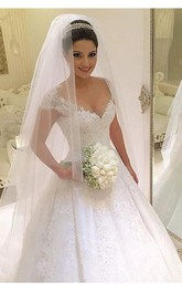 Newest V-neck Tulle Lace Appliques Wedding Dress 2018 Ball Gown Beadings Court Train