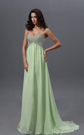 Graceful Sweetheart Empire Chiffon A-Line Gown With Sequined Bodice