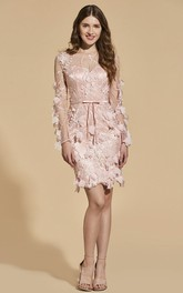 Illusion Long Sleeve And Floral Appliques Mini Skirt Bodycon Dress With Bow And Sash