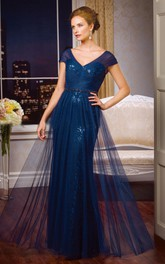 Cap-Sleeved V-Neck Long Mother Of The Bride Dress With Sequins And Tulle Overlay