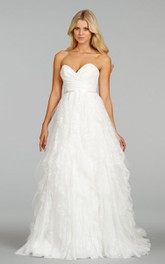 Glamorous Draped Bodice Cascading Ruffled Lace Tulle Dress