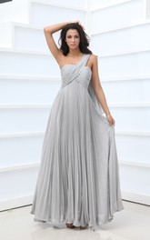 Vintage Style Empire One-Shoulder Chiffon Gown Crystal Details