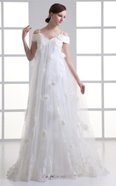 Glossy Sleeveless a Line Satin Off the Shoulder Wedding Dresses
