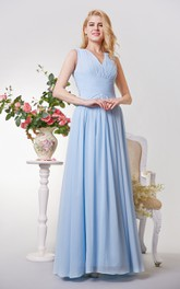 V-neck Ruched and Pleated A-line Long Chiffon Dress