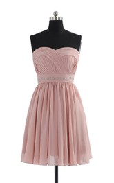 Sweetheart A-line Short Dress With Beaded Waistline