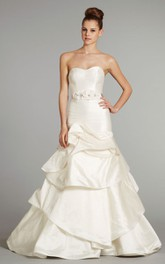Charming Strapless Tiered Dress With Beaded Petal Satin Sash
