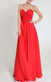 Floor-length Sweetheart Empire Criss-Cross Pleated Chiffon Bridesmaid Dress