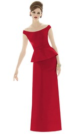 Elegant Long Off-the-Shoulder Satin Gown with Cap sleeves and Waistband