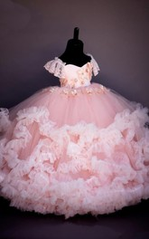 Ball Gown Sweetheart Tier Flower Girl Dress with Applique and Beading