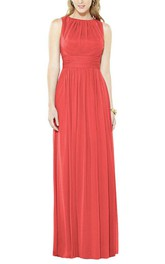 Jewel Neck Sleeveless Long Bridesmaid Dress with Ruching