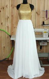 Jewel A-Line Sequins Court Train Prom Dress