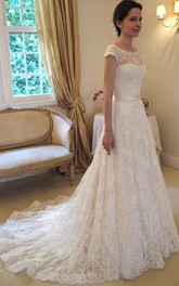 A-line Sleeveless Bateau Lace Court Train Wedding Dresses