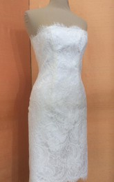 Sheath Strapless Short Lace Bridal Dress