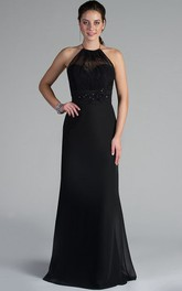 Spaghetti Straps High Neck Chiffon Long Mother Of The Bride Dress With Crystal And Beading