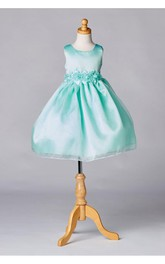 Scoop Neck Sleeveless A-line Ankle Length Organza Dress With Flower Sash