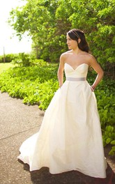 Sweetheart Taffeta A-Line Sleeveless Gown With Satin Bow Sash