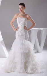 Sleeveless Tiered Column Crystal Detailing and Gown With Ruffles