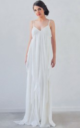 Sheath Spaghetti Sleeveless Empire Draped Chiffon Wedding Dress