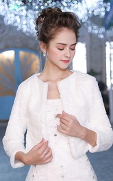 Bride Long-sleeved Fur Warm Thickened White Shawl