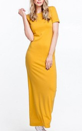 Scoop Neck Short Sleeve Sheath Jersey Ankle Length Dress