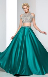 A-Line Two-Piece Beading Prom Dress
