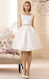 A Line Jeweled Sleeveless Short Mini Square Neck Satin Wedding Dress