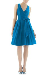 V-neck A-line Satin Short Dress with Bow