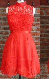 Short High Neck Chiffon&Lace Dress