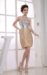 Lovely Sweetheart Short Dress With Sequins and Beading