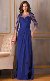 Sheath 3-4-Sleeve Floor-Length Appliqued Chiffon Mother Of The Bride Dress