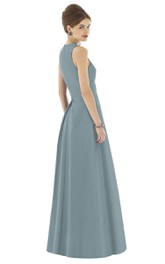 Satin Unique Sleeveless Gown With Pockets