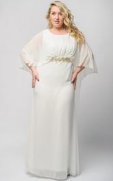 Empire Floor-Length Bateau Half Sleeve Empire Chiffon Crystal Detailing Zipper Dress