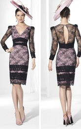 Pencil Appliqued Knee-Length V-Neck Illusion-Sleeve Lace Prom Dress
