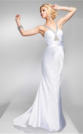 White Sheath Floor-length V-neck Dress