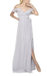Spagetti Straps Falbala Off-the-shoulder Wrap Chiffon Dress