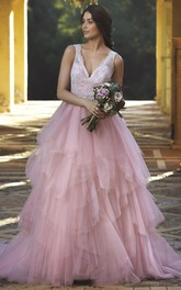 A-Line Cascading-Ruffle Sleeveless V-Neck Floor-Length Tulle Wedding Dress With Lace And Waist Jewellery
