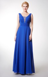 Fabulous V-neck Long Chiffon Dress With Crystal Detailing