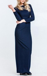 Bateau Long Sleeve Sheath Jersey Long Dress With Split