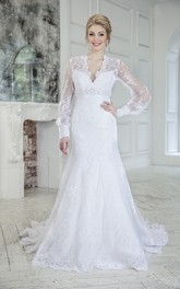 Trumpet Floor-Length V-Neck Keyhole Lace Dress With Waist Jewellery