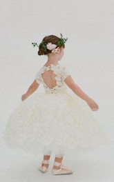 Flower Girl Short Sleeve All Over Lace Ball Gown With Keyhole