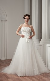 Strapless A-Line Tulle Overlay and Gown With Floral Embellishment