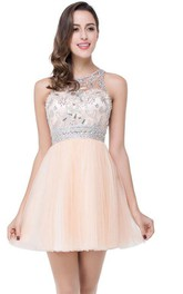 Elegant Beadings Crystal Short Prom Dress Chiffon Homecoming Gown