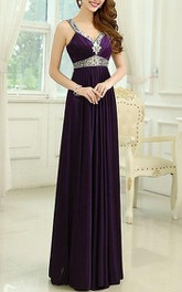 Exquisite Straps Beaded Long Prom Dress