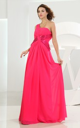 Cute Chiffon Maxi Dress With Ruching and Sequins