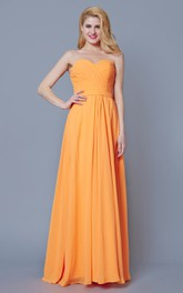 Sweetheart Ruched Long Chiffon Dress With Backless